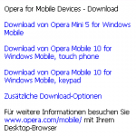 Opera Mobile 5 auf Windows Mobile - Downloadseite