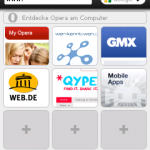 Opera 5.1 auf Windows Mobile - Startbildschirm