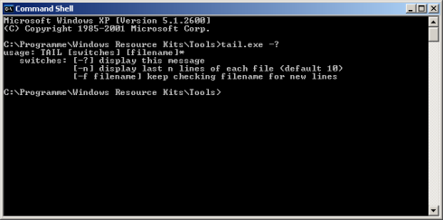 Windows Command Shell - tail