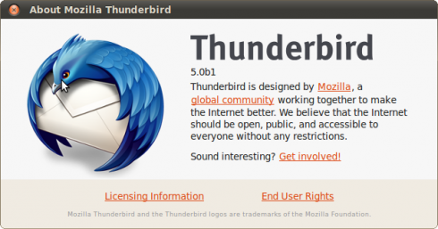 About Mozilla Thunderbird 5.0beta