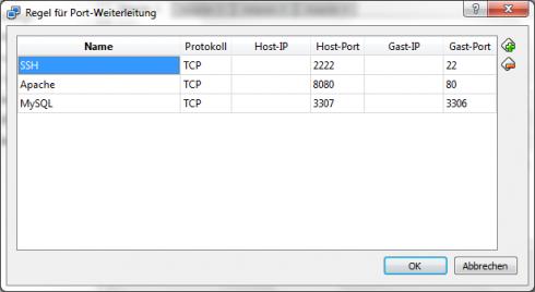 VirtualBox Einstellungen Portweiterleitung