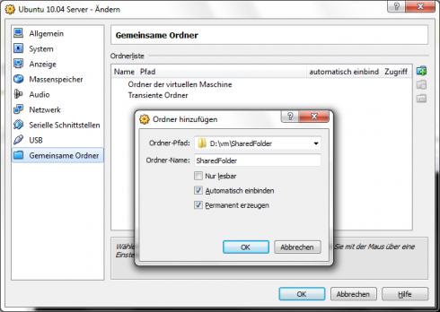 Virtualbox Gemeinsame Ordner
