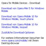 Opera Mobile 5 auf Windows Mobile - Downloadseite