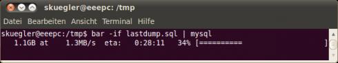 Fortschrittsanzeige bei MySQL Dump Import