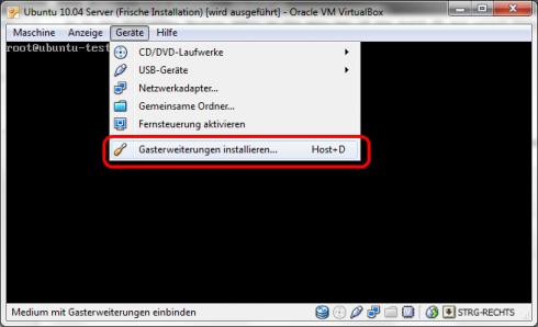 Virtualbox Gasterweiterung für Ubuntu 10.04